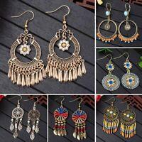 Fashion Women Boho Ring Earrings Long Tassel Fringe Drop Dangle Ear Stud Jewelry