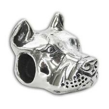 Cropped Ear Pit Bull Charm - Sterling Silver - For European Style Charm Bracelet