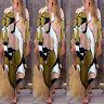Vintage Damen V-Ausschnitt Floral Geblümt Party Stand Abend Lang Maxi Kleid Plus
