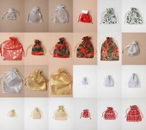 12 Christmas Drawstring Bag Organza Cotton Pouch Present Loot Shop Market
