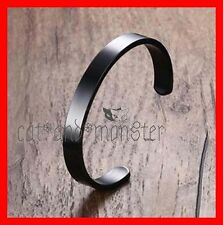BLACK BRACELET SOLID STAINLESS STEEL PLAIN POLISHED ENGRAVABLE MENS CUFF BANGLE