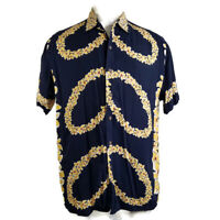 Men's Vintage Tommy Hilfiger Hawaiian Aloha Hula Girl Shirt Size Large EUC