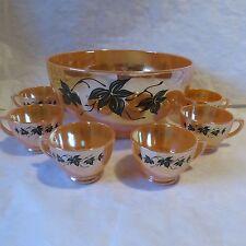 Anchor Hocking Lustre Luster Peach Ivy Leaf & Vine Punch Bowl & Cups