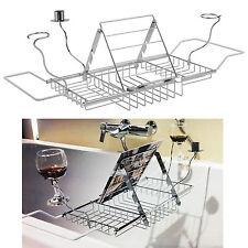 Extension Over Bath Tub Tray Organiser Storage Shelf Caddy Ipad Book Wine Rack