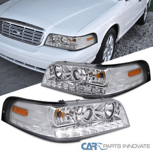 For Ford 98-11 Crown Victoria Clear Lens SMD LED Strip Projector Headlights Pair