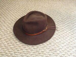 Ladies Brown Wool Fedora Hat Size Large
