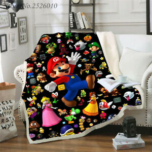 Cartoon Super Mario 3D Print Throw Blanket Plush Sofa Bed Sherpa Fleece Blanket