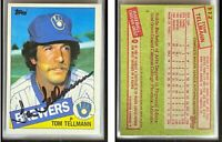 Tom Tellmann Signed 1985 Topps #112 Card Milwaukee Brewers Auto Autograph
