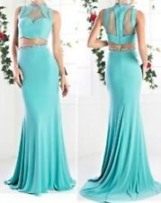 NWT 2pc Aqua Blue Embellished Mesh Top Skirt Prom Evening Cruise Pageant Dress 8