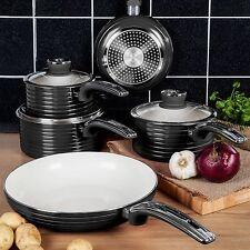 Swan Aluminium Black Retro 5 Piece Pan Set - Non-stick - INDUCTION READY