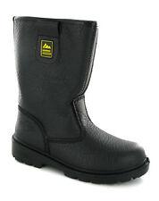 Steel Toe Cap Safety Black Rigger Boots Mens UK4-13
