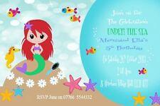10 personalised mermaid  Birthday Party Children's Invitations matching thankyou