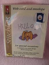 Mouseloft stitchlets Cross Stitch Kit ~ Hello! ~ Perro ~ tarjeta & sobres ~ Nuevo
