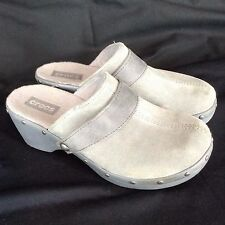 Womens CROCS Gray Suede Cobbler Studded Wedge Clogs Mule Slide Shoes~sz 8