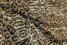 Sequin Leopard Fabric Mini Sequin Embroidered Fabric BTY