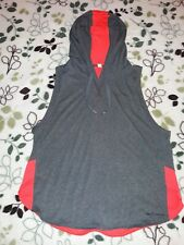 WOMENS Under Armour Sleeveless Mesh Hooded Shirt Gray/Pink Size XL
