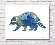 Blue Raccoon Contemporary Watercolor ART Print by Artist DJR