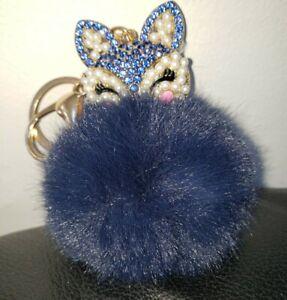 5Pcs blue fox Fur Ball Charm Pendant for Keychain Necklace Earring Pompom Pom 110mm A664