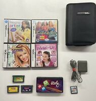 Nintendo DS Lite Cobalt Blue iCarly Sticker Wrap 5 DS, 3 GBA Games Charger &Case