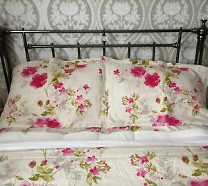 """Vintage Bedspread Eiderdown 93"""" x 52"""" + 2 Pillowshams  Beige Green Pink Floral"""