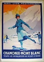 Large Format Facsimile of 1922 Chamonix-Mont-Blanc Skating Travel Poster 36x25