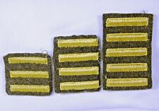 Set of 3 WWII US Service Bar Patches Gold on Wool 3, 4 and 5 Bars