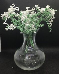 French Beaded White Seed Bead FLOWERS and beaded STEMS