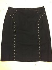J. Mclaughlin Stretch Twill Mini Pencil  Skirt With Rivets Navy Size 2
