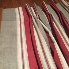 "❤️ 2 Custom SUNSHINE DRAPERY Pleated 97"" Quality Red Tan Stripe Lined Panels"