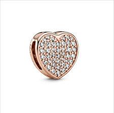 Reflexions Sparkling Heart Clip Charm Pandora Charm Authentic Rose