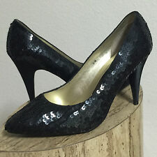 """EUC-NOTORIOUS BLACK SEQUIN/BEADED 4"""" CLASSIC PUMPS HIGH HEELS HOLIDAY SHOES-9 B"""