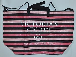 VICTORIA'S SECRET Rosa Negro Rayas Fin Bolsa Getaway Viaje Carry On Grande