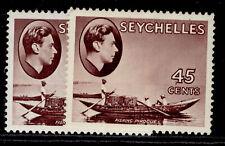 More details for seychelles gvi sg143a + 143b, 45c paper varieties, m mint. cat £58.