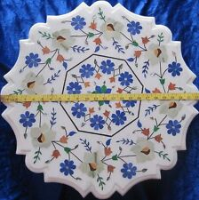 "fine white coffee Marble mosaic inlay table top dining 24"" center SIDE corner"
