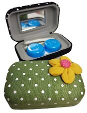 Fabric Flower Coloured Contact Lens Lenses Travel Kit Mirror Case Tweezers Green