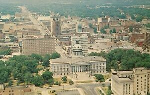 Aerial View of Downtown Columbia, SC and State House - Vintage Postcard