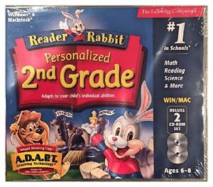Reader Rabbit Personalized 2nd Grade Pc Brand New 2 Cds XP Defeat Dragons Castle