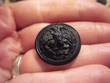 Victorian Black Glass Military Button Navy Dress Coat Eagle Facing Left