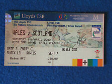 Rugby International Ticket - Wales v Scotland - 6/4/02