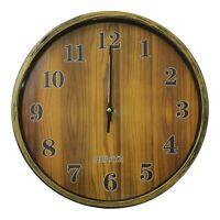 28cm Round Wall Clock With Quartz Movement Wood Effect Clock