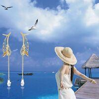 Fashion Crystal Angel's Wings Ear Cuff Adjustable Clip or Stud Dangle Tassels