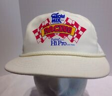 Vintage Meow Mix Purina Hi-Pro Racing Rope Cord Leather Strapback Hat Cap White