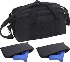 Black Compact MOLLE Concealed Carry Technician Pistol Range Bag w/ 2 Pistol Rugs