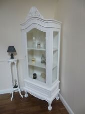 French Shabby Chic One Door Display Cabinet in White