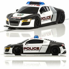 Scalextric Digital Chip Fitted Slot Car C3932 AUDI R8 Police Car - Black & White