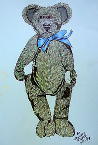 Original Art Pen Ink Drawing Teddy Bear Eduardo Rivera 1999 Watercolor Wash 8x10
