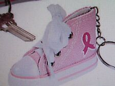 6 PINK RIBBON AWARENESS Tennis Shoe KEYCHAINS key chains FREE S/H Breast Cancer
