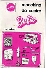 LIBRETTO INSTRUZIONI MACCHINA DA CUCIRE BARBIE MATTEL 1974  1976 3-336
