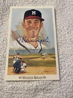 1989 Perez Steele Celebration Postcard WARREN SPAHN Signed AUTO Milwaukee Braves