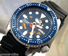 Seiko Blue Ceramic Mickey Mouse Automatic Diver's Day & Date Watch Custom SKX007